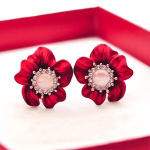 2/$20! Metallic Red Pink Opal Flower Earrings